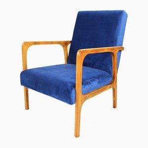 Blue Velvet Armchair, 1970s