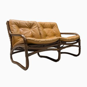 Italian Bamboo, Rattan, and Leather 2-Seater Sofa, 1960s