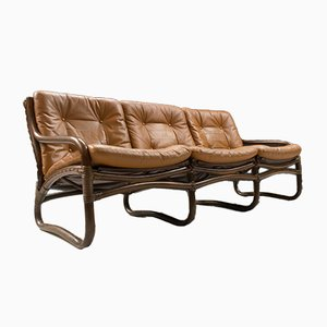 Italian Bamboo, Rattan, and Leather 3-Seater Sofa, 1960s
