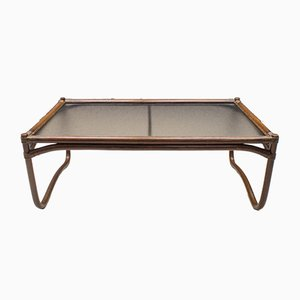 Italian Bamboo, Rattan, and Glass Coffee Table, 1960s