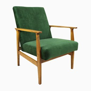 Vintage Green Velvet Lounge Chair, 1970s