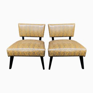 Imitation Snake Leather Lounge Chairs, 1980s, Set of 2