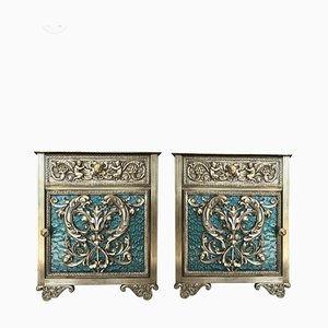 Antique Louis XVI Bronze Vitrine Nightstands with Green Glass Doors and Drawer, Set of 2
