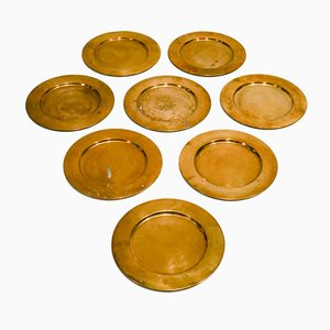 Mid-Century Danish Brass Coaster Dining Plates from Stelton, Set of 8