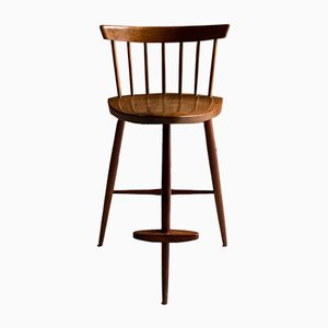 American Black Walnut Mira High Stool from George Nakashima, 1960s