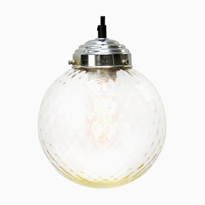 Vintage Clear Glass Globe and Metal Top Pendant Lamp