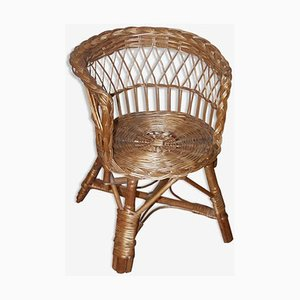 Mid-Century Wicker Childrens Chair, 1960s