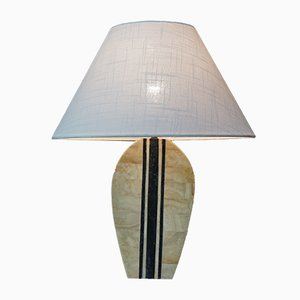 Vintage Brass and Stone Inlay Table Lamp