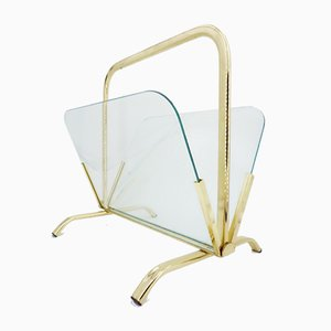 Brass and Glass Magazine Rack, 1970s
