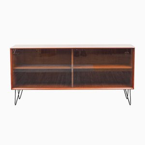 Mid-Century Teak Sideboard with Glass Sliding Doors by Rex Raab for Wilhelm Renz, 1960s