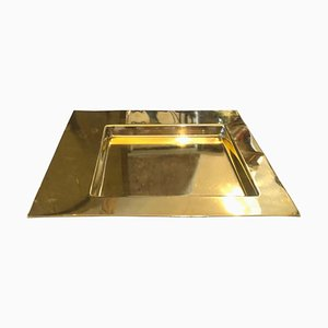 Mid-Century Squared Brass Tray by Pastorino for Cleto Munari, 1970s
