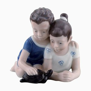 Figure in Porcelain Siblings with Turtle from Lyngby Porcelæn, Denmark, 1940s