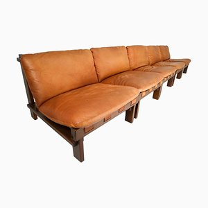 Cognac Leather Lounge Chairs & Sofa by Carl Straub, Germany, 1960s, Set of 5