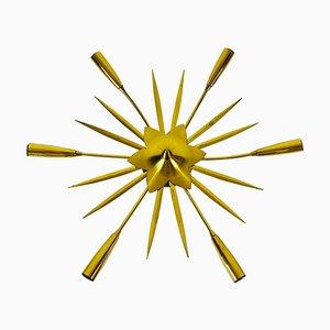 Vergoldeter Mid-Century Messing 6-Arm Sputnik Kronleuchter, 1950er