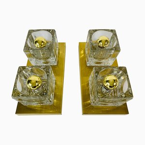 Brass and Frosted Ice Glass Cube Flush Mounts from Peill & Putzler, 1970s, Set of 2