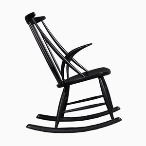 Rocking Chair in Black by Illum Wikkelsø for Niels Eilersen, 1950s