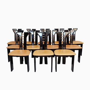 Black Lacquer Sculptural Chairs with Leather Seats by Pierre Cardin, 1970s, Set of 12