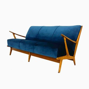 Vintage Petrol Velvet Sofa, the Netherlands, 1960s