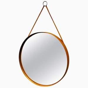 Vintage Swedish Round Teak Mirror from Glasmäster Markaryd, 1960s