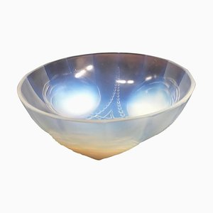 Art Deco French Opaline Crystal Bowl from Sabino Art Glass, 1930s