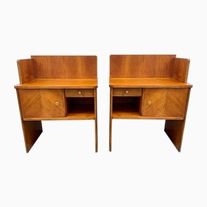 Vintage Art Deco Walnut Nightstands, Set of 2