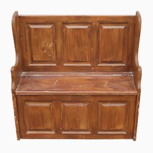 Antique Small Pine Settle with Storage, 1900s