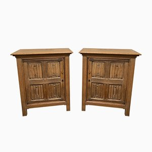 19th Century French Bleached Oak Cabinets, Set of 2