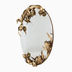 Wall Mirror with Vegetal Decor, 1970s