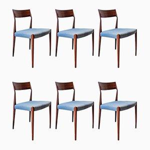 Palisander Esszimmerstühle von Arne Vodder für Sibast, 1960er, 6er Set