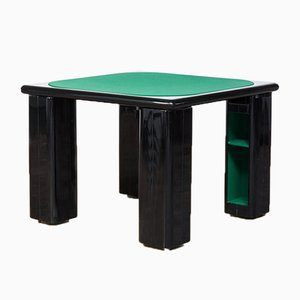 Italian Black Lacquered Wood Game Table by Pierluigi Molinari for Pozzi, 1970s