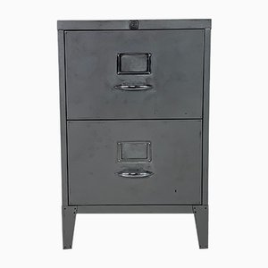 Vintage Striped and Polished Steel Filing Cabinet with Two Drawers