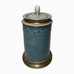 Blau und grauer Mid-Century Craidle Lasur Krug mit silbernem Dekor von Leitão & Irmão für Royal Copenhagen