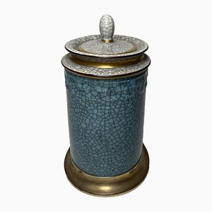 Mid-Century Blue and Gray Crackle Glaze Lidded Jar with Silver Decor by Leitão & Irmão for Royal Copenhagen