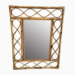 Mid-Century French Bamboo Mirror, 1970s