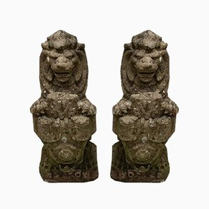 Antique Heraldic Lion Garden Statues, Set of 2