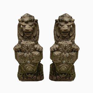 Antique Heraldic Lion Garden Statues, Set of 2