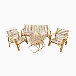 Juego de terraza vintage de bambú y ratán