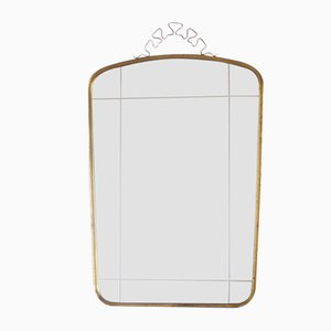 Large Mid-Century Wall Mirror with Brass Crown from Münchner Zierspiegel