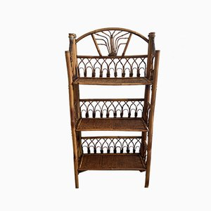 Mid-Century French Bamboo and Rattan Shelf, 1950s