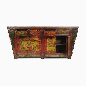 Antikes Sideboard mit handbemalten Landschaften