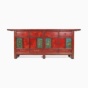 Antique Double Sided Cabinet with Painted Panels