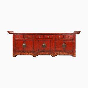 Großer Antiker Altar Schrank aus Rotem Lack