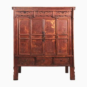 Antique Rustic Elm Chinese Temple Cabinet