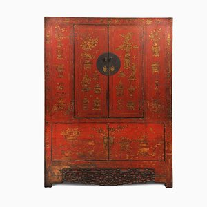 Antique Red Lacquer Armoire With Gold Paintings