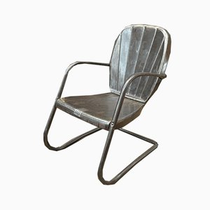 Vintage American Polished Metal Lounge Chair, 1950s