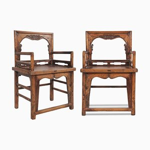 Antique Qing Rose Chairs, Set of 2