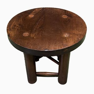 Round Walnut and Beech Side Table, 1950s