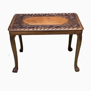 Vintage Carved Mahogany Side Table