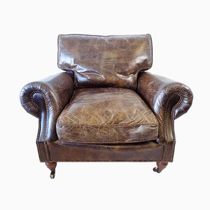 Brown Leather Chesterfield Style Lounge Chair, 1970s
