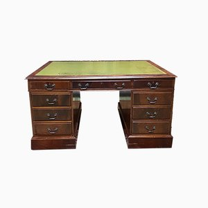 English Double-Sided Mahogany Desk with Leather Top, 1950s